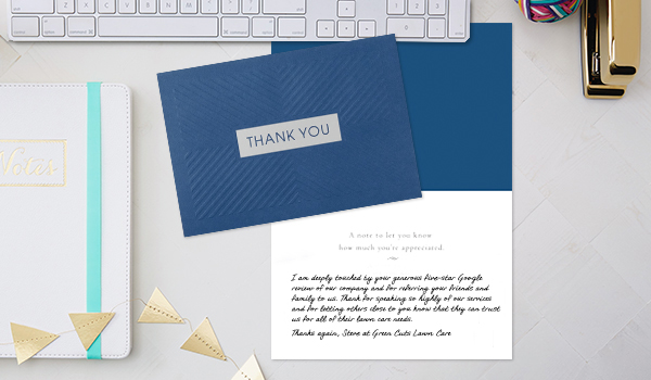 Say thank you to your customers or employees in a memorable way when you use a Hallmark card filled with a personal note.