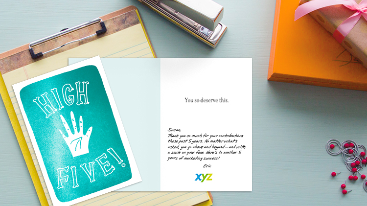 Use personal notes inside high-quality Hallmark cards to let your personality shine—whether it's formal or more causal.