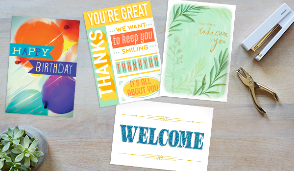 An assortment of customer care cards including birthday greetings and a thank you card are displayed.