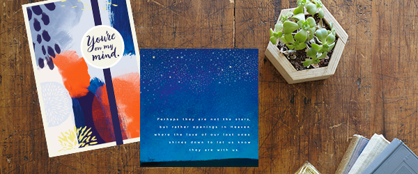 Whether a painterly design or modern illustration, Hallmark sympathy cards for businesses help you show support to employees.
