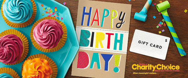 Add A Gift Code To Your Hallmark Business Birthday Greeting That Can Be On CharityChoice