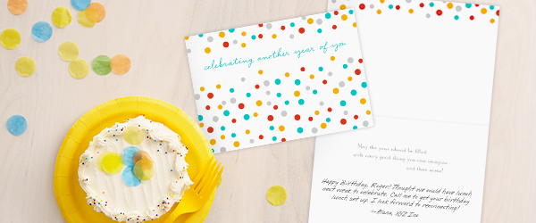 Hallmark offers a Self Service portal where you send a business birthday greeting card printed with a personalized message.