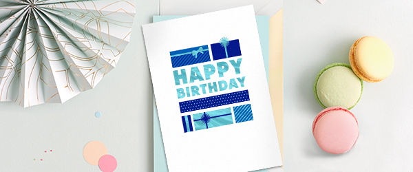 Make it all about your customers or business associates with this birthday card featuring shining foil and lots of gifts.