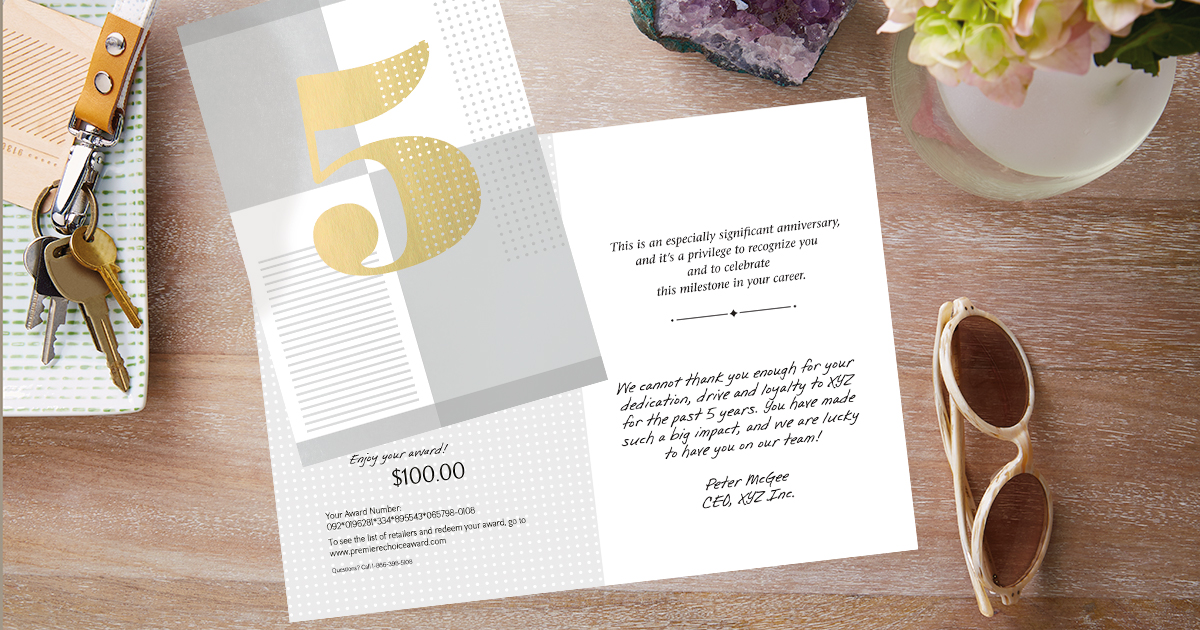 A milestone work anniversary greeting card is made memorable with a personal message and award code.