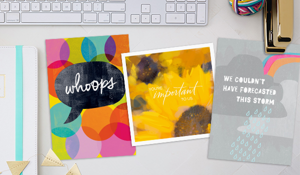 Hallmark apology cards for businesses use empathetic language and expressive illustrations to get things sunny again.
