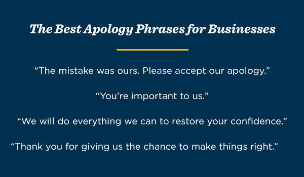 "The Best Apology Phrases for Businesses: ""The mistake was ours. Please accept our apology."" ""You're important to us."" ""We will do everything we can to restore your confidence."" ""Thank you for giving us the chance to make things right."""