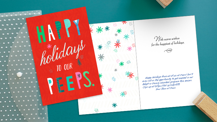 Happy Holidays to Our Peeps Studio Ink Hallmark Card for Business with personalized message.