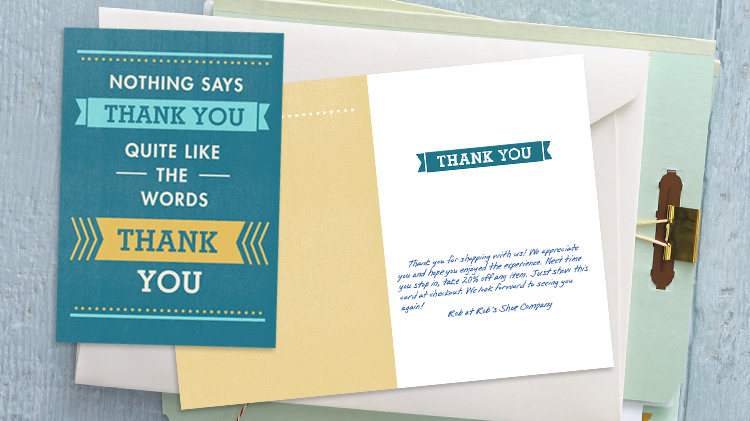 Hallmark thank you card for business with personalized message.