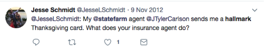 Tweet from @JesseLSchmidt about the State Farm and Hallmark Thanksgiving card.
