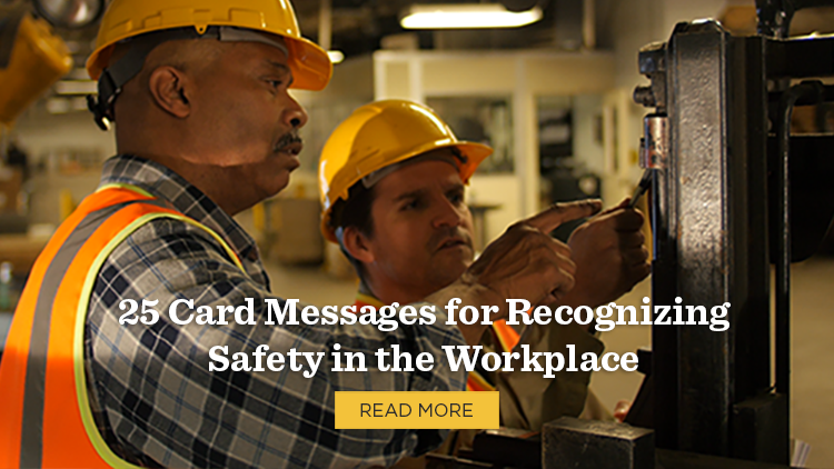 Construction workers with a link to an article titled 25 Card Messages for Recognizing Safety in the Workplace to promote safety programs.
