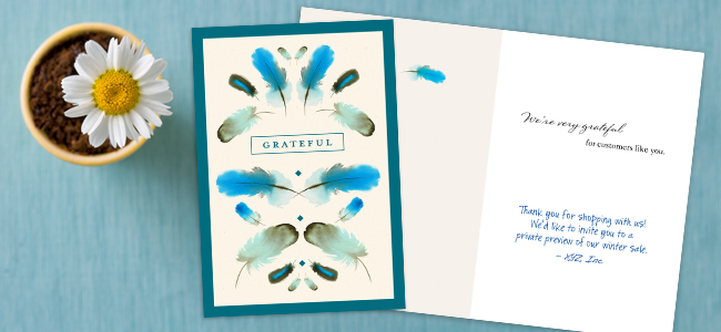 The watercolor card design sets a friendly tone, and our proprietary handwriting font adds a personal touch to your message.