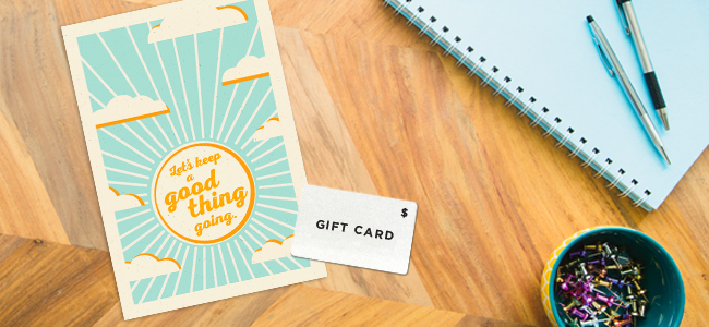 Blue skies and sunshine in this woodblock-style card design set the tone for optimism and good vibes.