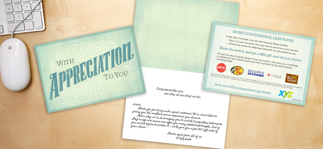 "A ""handwritten"" note printed on a card that's paired with an insert results in messages that are noticed and remembered."