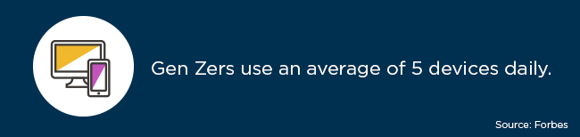 An article on Forbes states that Gen Zers use an average of five devices daily.