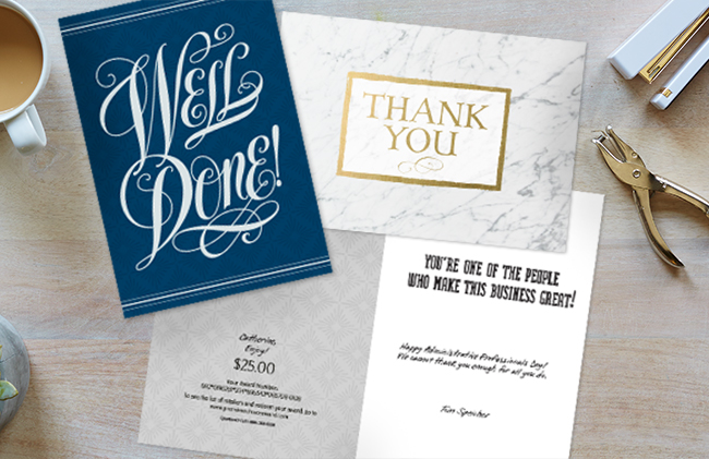 Sophisticated lettering, patterns and foils make Hallmark cards ideal for recognition, especially when paired with incentives.