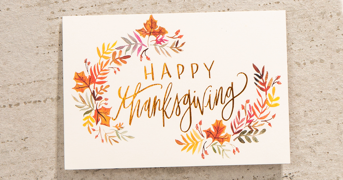 Inspired by bountiful medieval tapestries, this Hallmark Thanksgiving card makes a statement through pattern and gold foil.