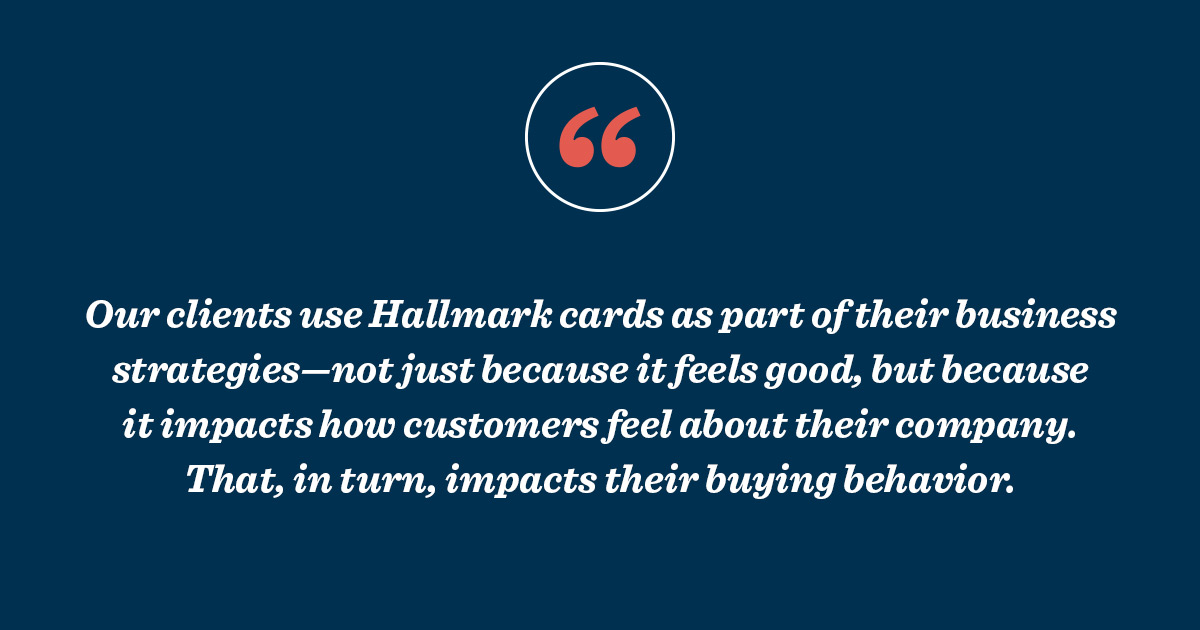 Quote about using Hallmark cards for customer service and direct marketing.