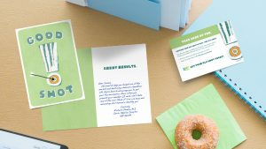 Health plan providers often use Hallmark greeting cards to help remind members to perform annual wellness actions.