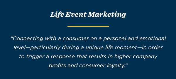 Life event marketing is when companies connect with consumers during a unique life moment in order to trigger a response that results in higher company profits and consumer loyalty.