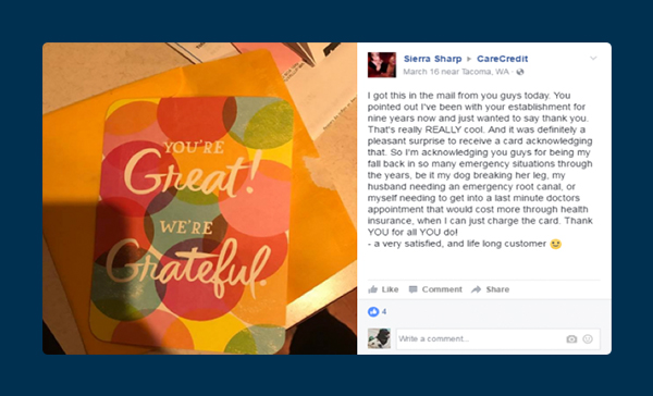 One customer appreciation card recipient took to Facebook to proclaim her joy at receiving a card from her company.