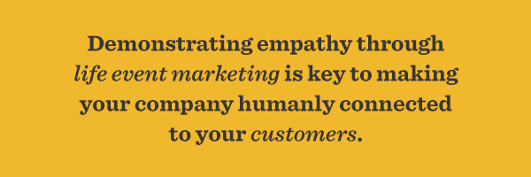 Demonstrating empathy through life event marketing is key to making your company humanly connected to your customers.