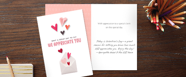 This Hallmark card, featuring paper hearts, lets customers know you appreciate them without even saying Valentine's Day.