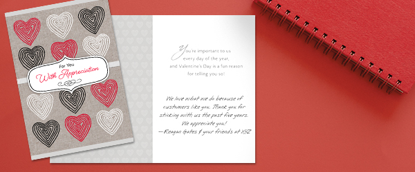 Tell customers that you appreciate their business with a Valentine's Day card that hints at the holiday with subtle hearts.