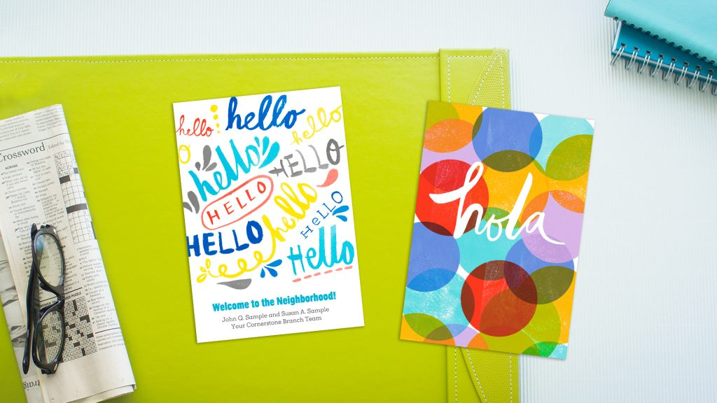 Greeting cards, which say hello and hola on the covers, can create a good impression with prospects and new customers.